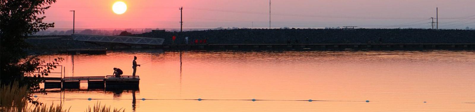 image: fishing at sunset