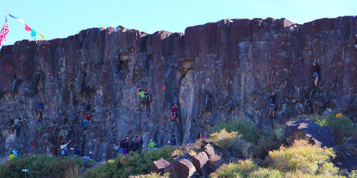 Sunny Side cliffs during Pocatello Pump