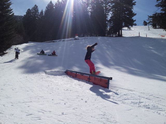 image: snowboarder in terrain park Pebble Creek