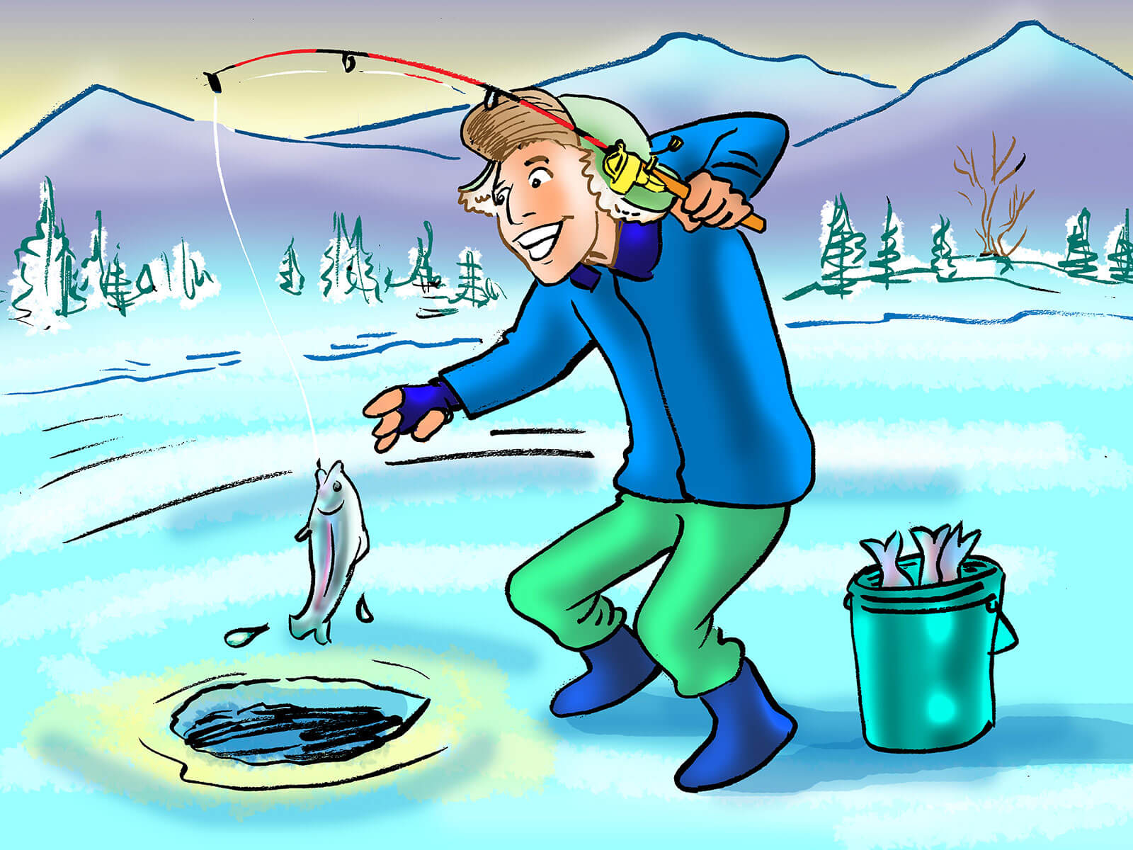 drawing art: ice fishing