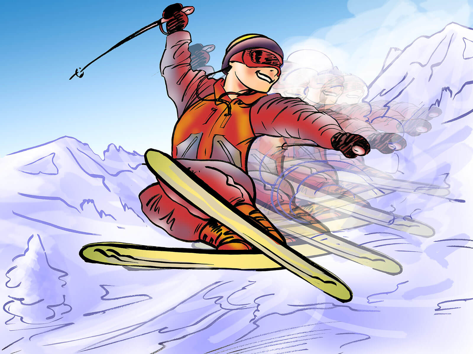 drawing art: skier showing off