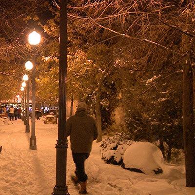 downtown Pocatello in the snow