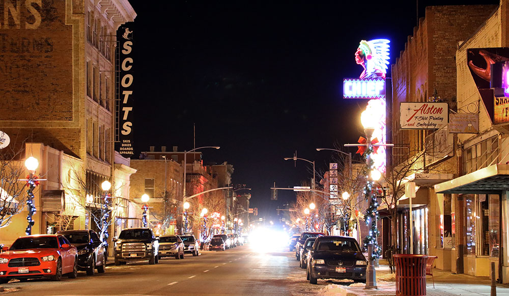 image: downtown Pocatello at night